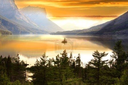 Photo pour Île d'oie sauvage dans le parc national des Glaciers - image libre de droit