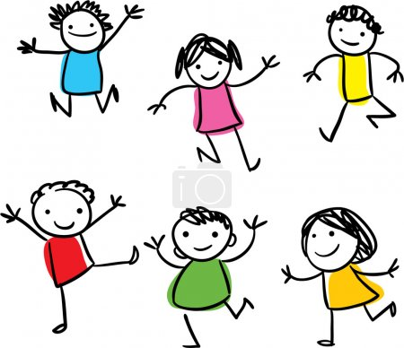Illustration for Vector drawing of smiling happy kids jumping around - Royalty Free Image
