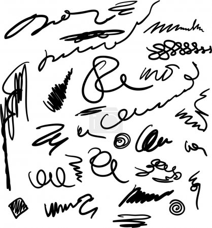 Unreadable and unrecognizable scribbles set