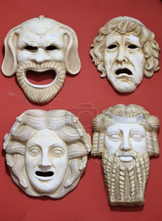 Photo for Ancient Greece theatre masks in marble stone - Royalty Free Image
