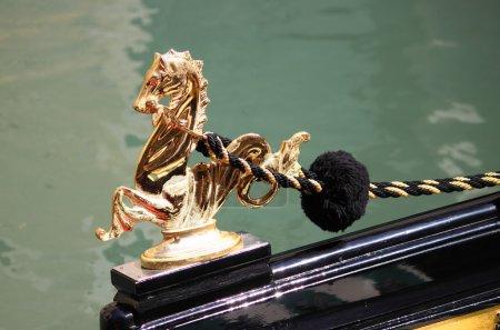 Golden sea horse decoration on a Gondola
