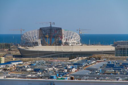 SOCHI, RUSSIA - JUNE 20: Construction of the olympic stadium