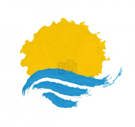 Sun and the sea. Vector icon illustration