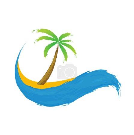 Tropical palm on island with sea.