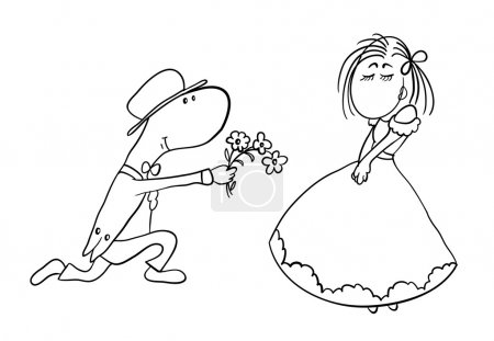 man gives a woman flowers, vector illustration