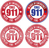 A collection of Call 911 in case of emergency vector stamps