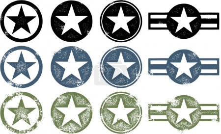 Illustration for A collection of military style stars in three different states of distress. - Royalty Free Image