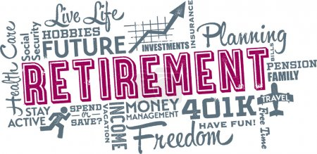 Retirement Planning Word and Icon Collage