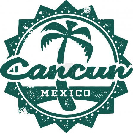 Cancun Mexico Vacation Stamp