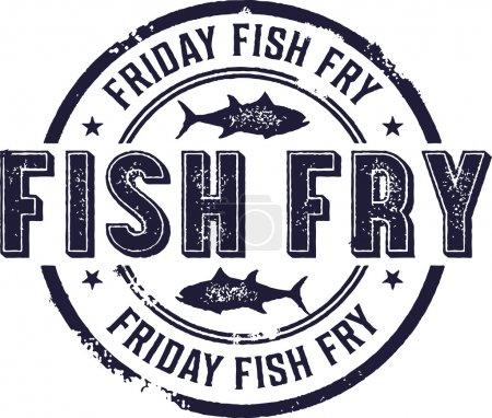 Illustration pour Vintage vendredi poisson Fry signe - image libre de droit