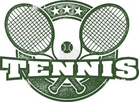 Illustration pour Style Vintage Timbre Sport Tennis - image libre de droit