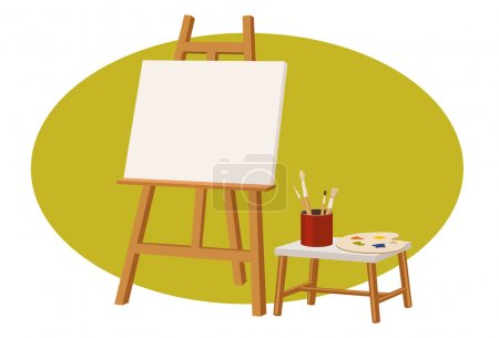 Illustration for Canvas stand with a empty canvas, palette, and brush - Royalty Free Image
