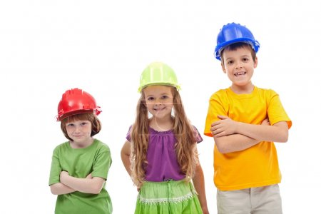 Photo pour Journée d'orientation professionnelle - enfants avec chapeaux durs, isolés - image libre de droit