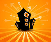 Speakers on orange background