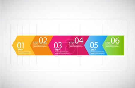 Illustration pour Flèches de six étapes pour les présentations. - image libre de droit