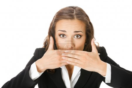 Business woman covering mouth, isolated