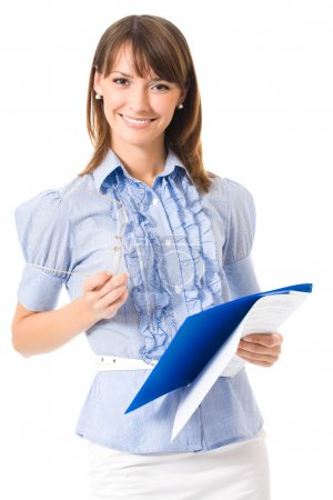 Happy smiling cheerful young business woman with documents, isolated
