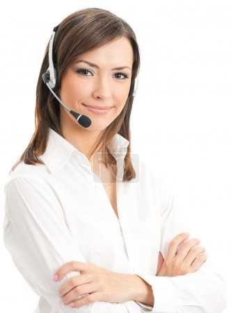 Photo for Portrait of happy smiling cheerful support phone operator in headset, isolated on white background - Royalty Free Image