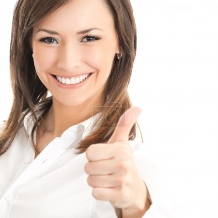 Happy smiling businesswoman with thumbs up gesture, isolated on