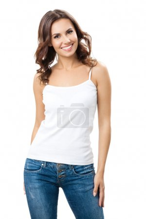 Portrait of happy smiling young beautiful woman, i...