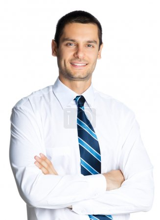 Photo for Portrait of young happy smiling business man, isolated over white background - Royalty Free Image