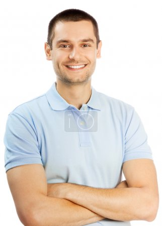 Cheerful young man, isolated over white background...