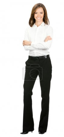 Photo for Full body portrait of happy smiling young cheerful business woman, isolated over white background - Royalty Free Image