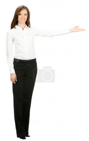 Full body portrait of happy smiling beautiful young cheerful business woman showing
