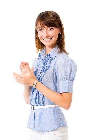 Photo pour Portrait de jeune femme affaires applaudissements joyeux, isolée sur fond blanc - image libre de droit