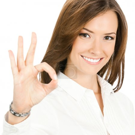 Photo for Happy smiling cheerful young business woman with okay gesture, isolated over white background - Royalty Free Image