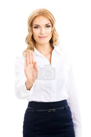 Foto de Mujer de negocios joven mostrando parada gesto, aislado sobre fondo blanco - Imagen libre de derechos