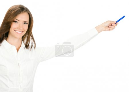 Photo for Portrait of happy smiling beautiful young cheerful business woman showing something, isolated on white background - Royalty Free Image