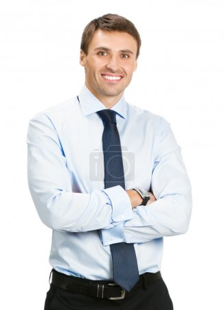 Portrait of happy business man, on white
