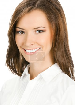 Portrait of young happy smiling business woman, is...