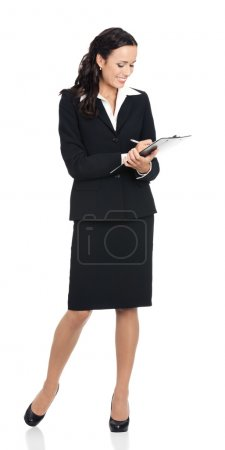 Businesswoman with clipboard writing, on white