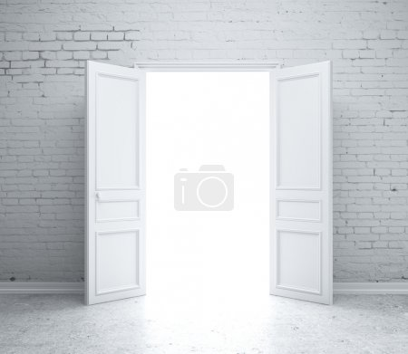 Photo for Open door in brick wall - Royalty Free Image
