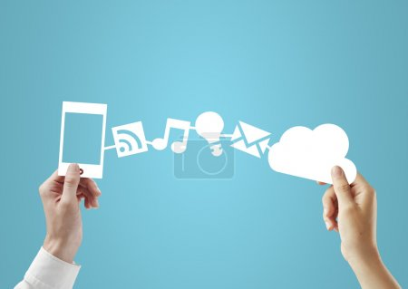 Photo for Phone and cloud in hands, social media concept - Royalty Free Image