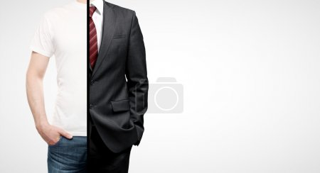 Photo for Businessman in suit and guy inT-shirt - Royalty Free Image