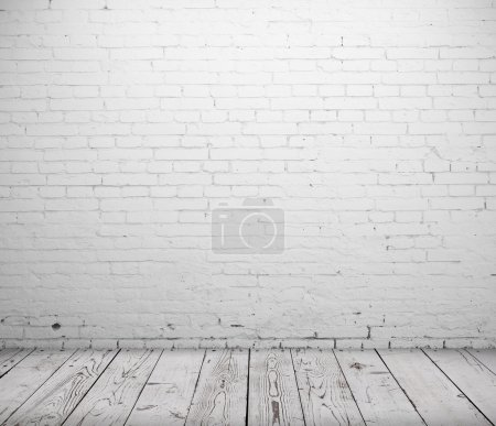 Photo for White concrete room and wooden floor - Royalty Free Image