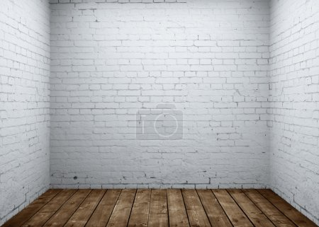Photo pour Salle de briques et plancher en bois - image libre de droit