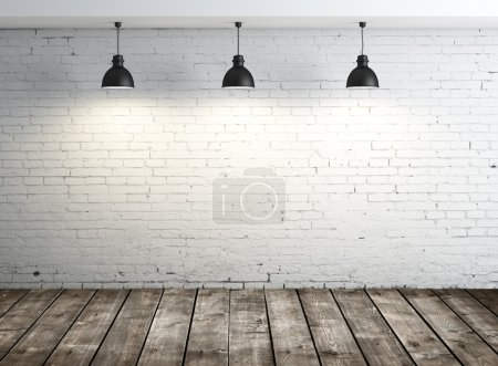 Photo for White brick room with ceiling lamp - Royalty Free Image