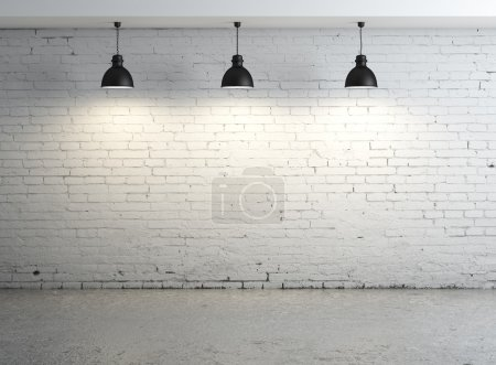 Photo for High resolution brick concrete room with ceiling lamp - Royalty Free Image