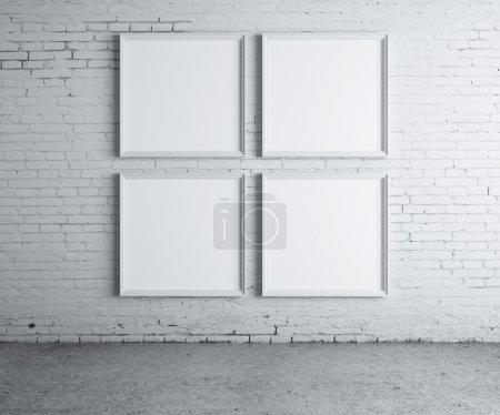 Photo for Four blank frame on a concrete wall - Royalty Free Image