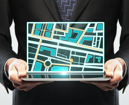 tablet with map