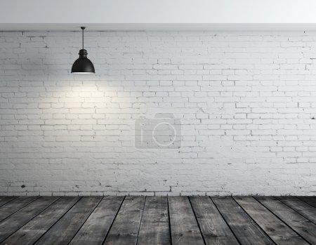 Photo pour Chambre avec plancher en bois et lampe au plafond - image libre de droit