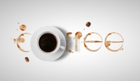 Photo for Coffee cup and prints rings - Royalty Free Image
