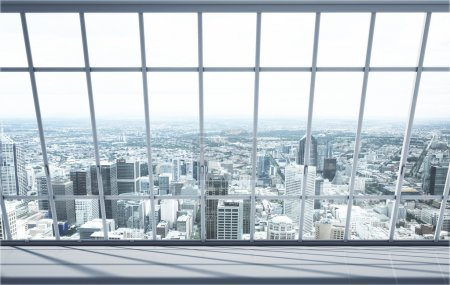 Photo for White room with big window in city - Royalty Free Image