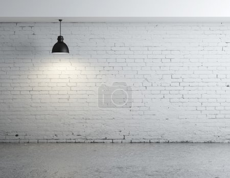 Photo for Brick concrete room with ceiling lamps - Royalty Free Image