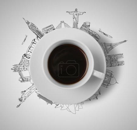 Photo for Cup of coffee travelling concept - Royalty Free Image