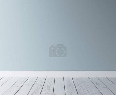 Photo for Blue concrete wall and wood floor - Royalty Free Image